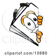 Clipart Picture Of A Paper Mascot Cartoon Character Peeking Around A Corner by Toons4Biz