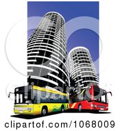Clipart City Bus Background 10 Royalty Free Vector Illustration by leonid