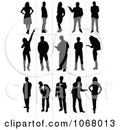 Clipart Silhouetted Men And Women Royalty Free Vector Illustration
