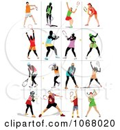 Clipart Tennis Players 3 Royalty Free Vector Illustration