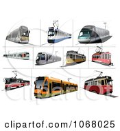 Clipart Tram Buses Royalty Free Vector Illustration by leonid