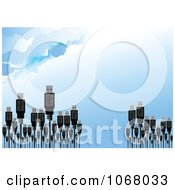 Clipart USB Cable Forest Against A Sky Royalty Free Vector Illustration