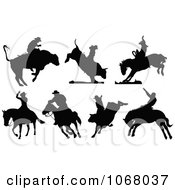 Clipart Silhouetted Rodeo Cowboys Royalty Free Vector Illustration by leonid