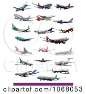 Clipart Airplanes 3 Royalty Free Vector Illustration