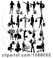 Clipart Silhouetted Shoppers Royalty Free Vector Illustration