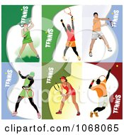 Clipart Tennis Players 2 Royalty Free Vector Illustration