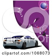 Clipart White And Purple Car Background Royalty Free Vector Illustration