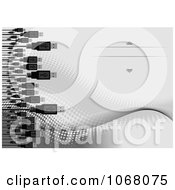 Clipart USB Cables Over Gray Halftone Royalty Free Vector Illustration