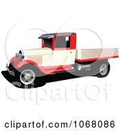 Clipart Vintage Red Pickup Truck Royalty Free Vector Illustration
