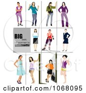 Clipart Women In Different Poses Royalty Free Vector Illustration by leonid