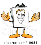 Paper Mascot Cartoon Character With Welcoming Open Arms