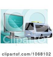 Clipart Mini Tour Bus And Computer Monitor Royalty Free Vector Illustration by leonid