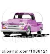 Clipart Vintage Purple Pickup Truck Royalty Free Vector Illustration