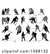 Clipart Silhouetted Hockey Players Royalty Free Vector Illustration