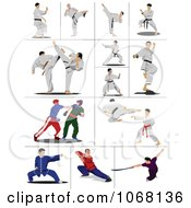 Clipart Martial Artists Royalty Free Vector Illustration