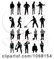 Clipart Silhouetted Men Royalty Free Vector Illustration
