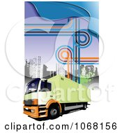 Clipart Big Rig Logistics Background 5 Royalty Free Vector Illustration