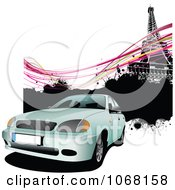 Clipart White Car And Eiffel Tower Background Royalty Free Vector Illustration