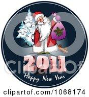 Clipart 2011 Happy New Year Santa Greeting Royalty Free Vector Illustration