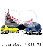 Clipart Eiffel Tower And Car Background Royalty Free Vector Illustration