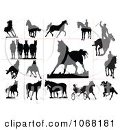 Clipart Horse Silhouettes 1 Royalty Free Vector Illustration by leonid #COLLC1068181-0100