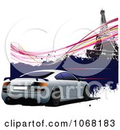 Clipart Car And Eiffel Tower Background Royalty Free Vector Illustration
