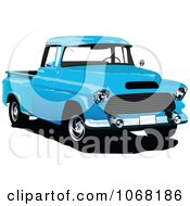 Clipart Vintage Blue Pickup Truck Royalty Free Vector Illustration