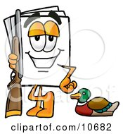 Clipart Picture Of A Paper Mascot Cartoon Character Duck Hunting Standing With A Rifle And Duck by Toons4Biz