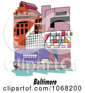 Clipart Baltimore Maryland Ship And Building Scene Royalty Free Vector Illustration by Andy Nortnik