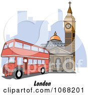 Clipart London England Double Decker And Street Scene Royalty Free Vector Illustration