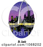 Clipart St Louis Missouri Gateway Arch And Waterfront Scene Royalty Free Vector Illustration