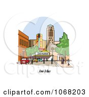 Clipart Ann Arbor Michigan Street Scene Royalty Free Vector Illustration by Andy Nortnik