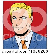 Clipart Pop Art Styled Blond Businessman Royalty Free Vector Illustration by brushingup