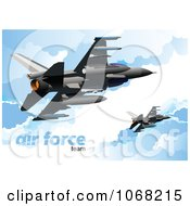 Clipart Air Force Jet In The Sky 1 Royalty Free Vector Illustration