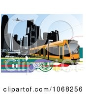 Clipart Tram Bus Background 2 Royalty Free Vector Illustration