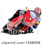 Clipart Biker On A Motorcycle 5 Royalty Free Vector Illustration