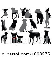 Clipart Dog Silhouettes 1 Royalty Free Vector Illustration