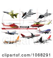 Clipart Airplanes 4 Royalty Free Vector Illustration