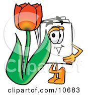 Paper Mascot Cartoon Character With A Red Tulip Flower In The Spring