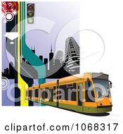 Clipart Tram Bus Background 3 Royalty Free Vector Illustration