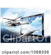 Clipart Helicopter And Computer Screen Royalty Free Vector Illustration