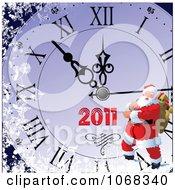 Clipart Santa On A 2011 Clock Royalty Free Vector Illustration