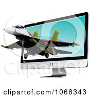Clipart Air Force Jet And Computer Screen 2 Royalty Free Vector Illustration