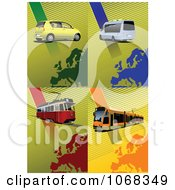Clipart Tram Buses And Cars Royalty Free Vector Illustration by leonid