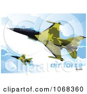 Clipart Air Force Jet In The Sky 2 Royalty Free Vector Illustration