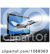 Clipart Jet And Computer Screen Royalty Free Vector Illustration