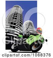 Clipart Biker In A City Background 1 Royalty Free Vector Illustration