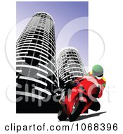 Clipart Biker In A City Background 2 Royalty Free Vector Illustration