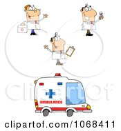 Clipart Doctors And An Ambulance Royalty Free Vector Illustration