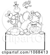 Clipart Outlined Zoo Animals Over A Sign 2 Royalty Free Vector Illustration